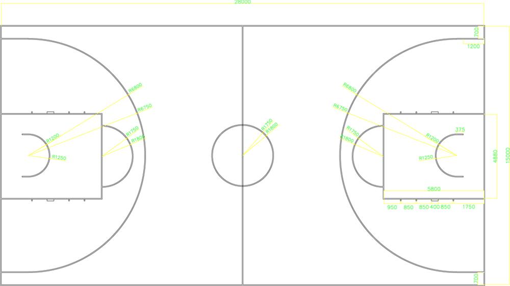 最新篮球场地画法_篮球场地的画法